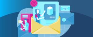 Animação de homem e mulher transmitindo mensagens através de e-mails